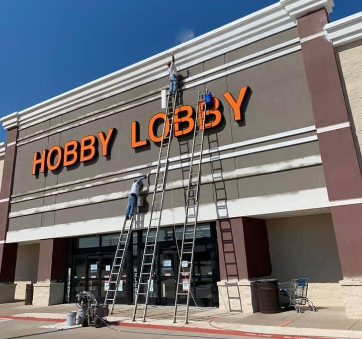 Exterior of Hobby Lobby Commercial Painting job