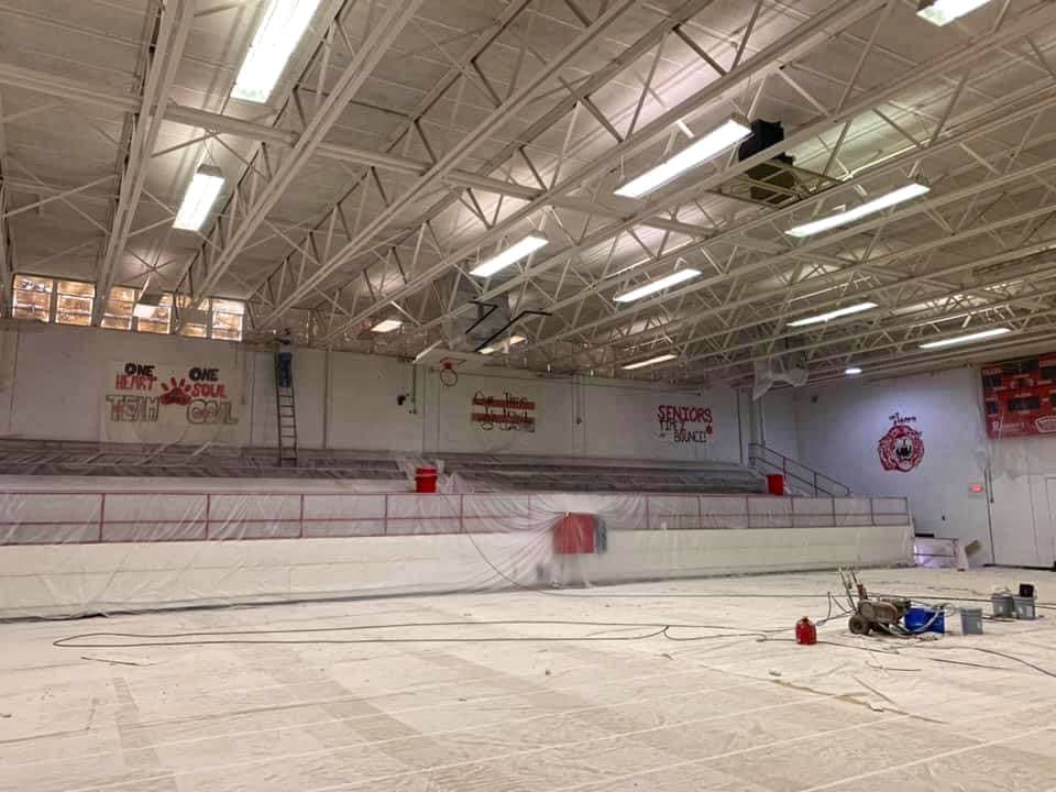 Large gym being painted